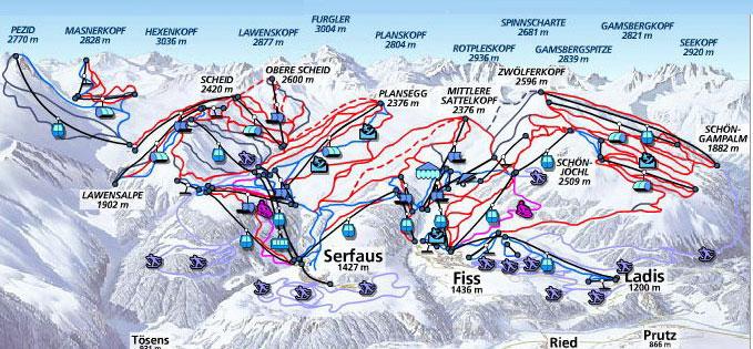 Схема - трасс Серфаус